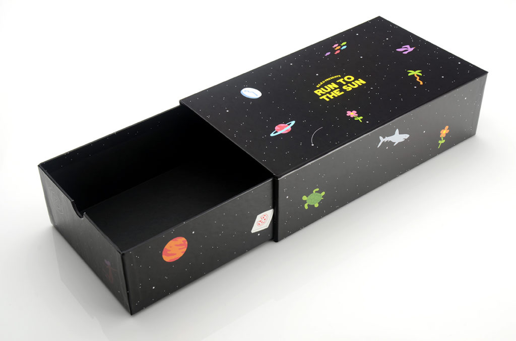 box, packaging, outer space, stars, N.E.R.D., cool packaging design