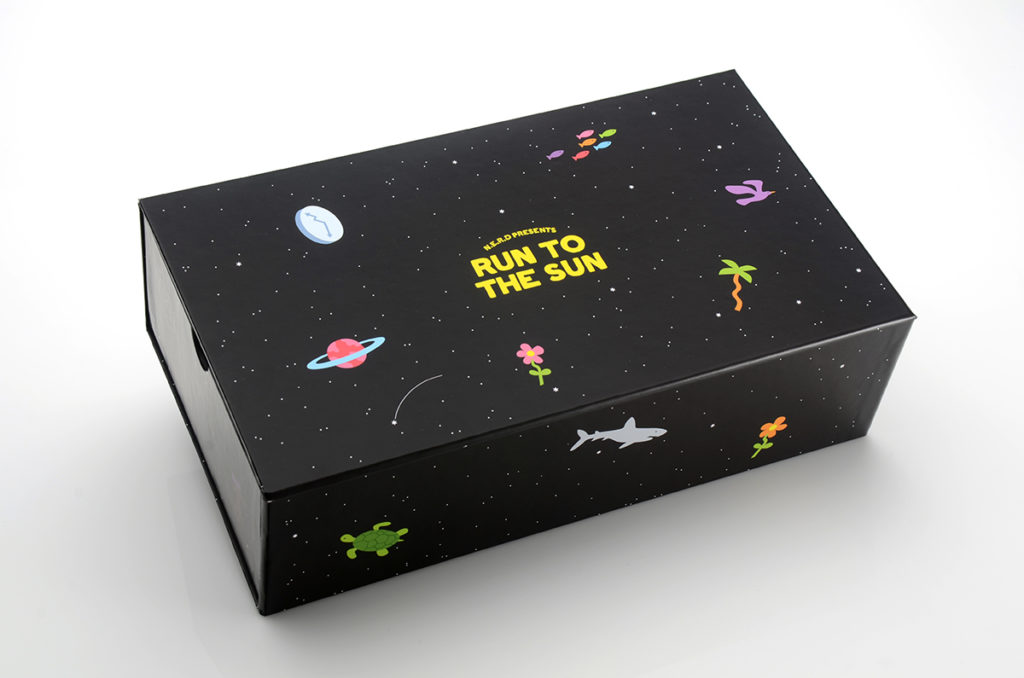 box, outer space, N.E.R.D., black, planets, cool packaging design
