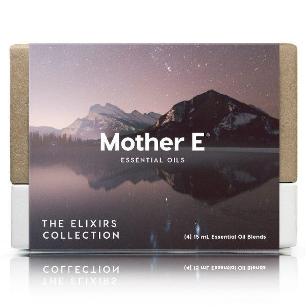 custom ecommerce packaging, custom packaging design, mother e, essential oils, box, nature, mountain, stars