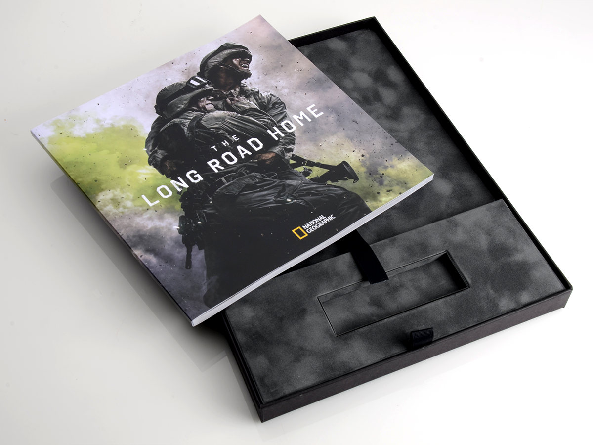 box, packaging, press kit, solider, suede, long road home, packaging design, national geographic