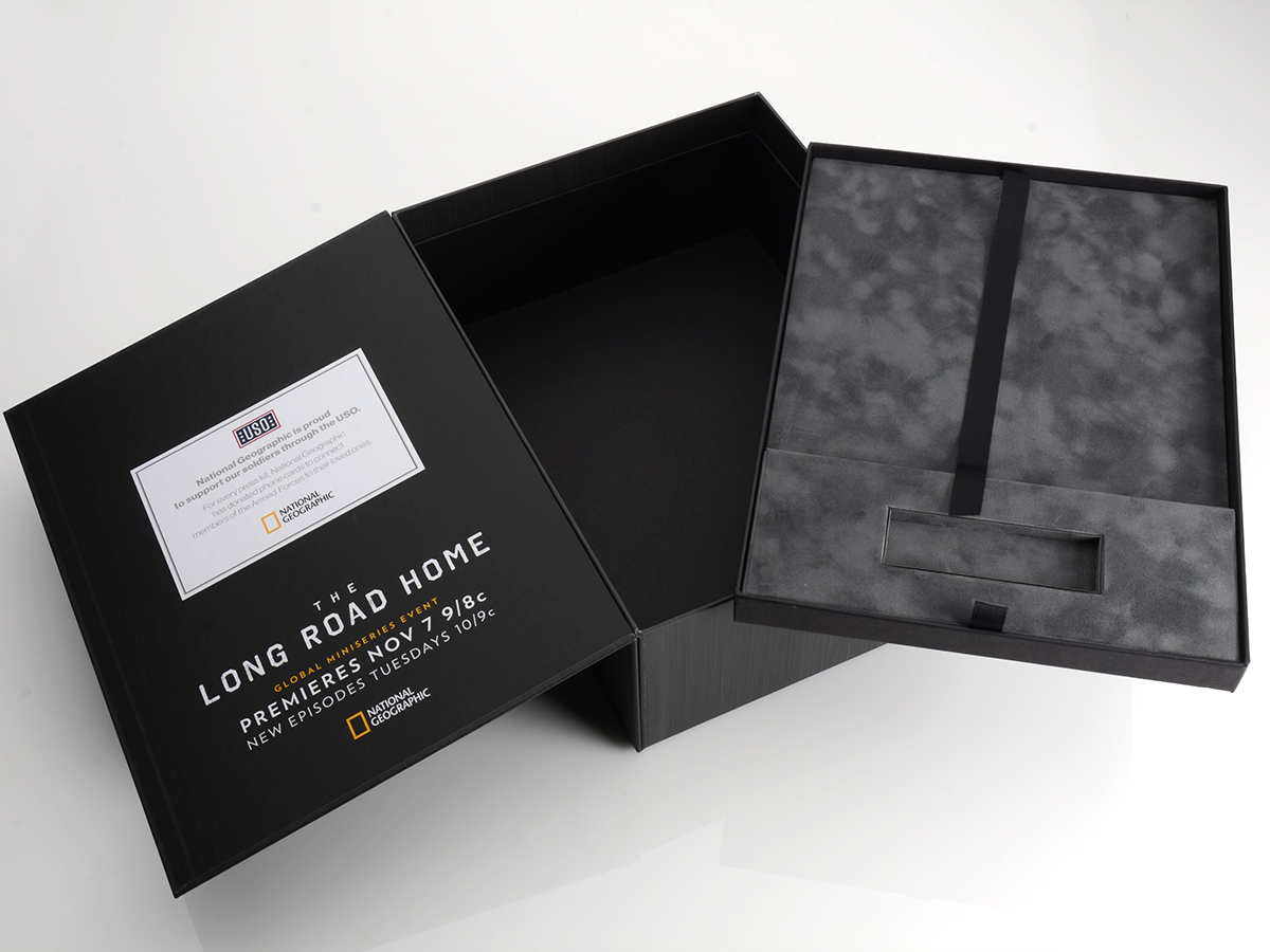 box, packaging, packaging design, press kit packaging, national geographic, long road home