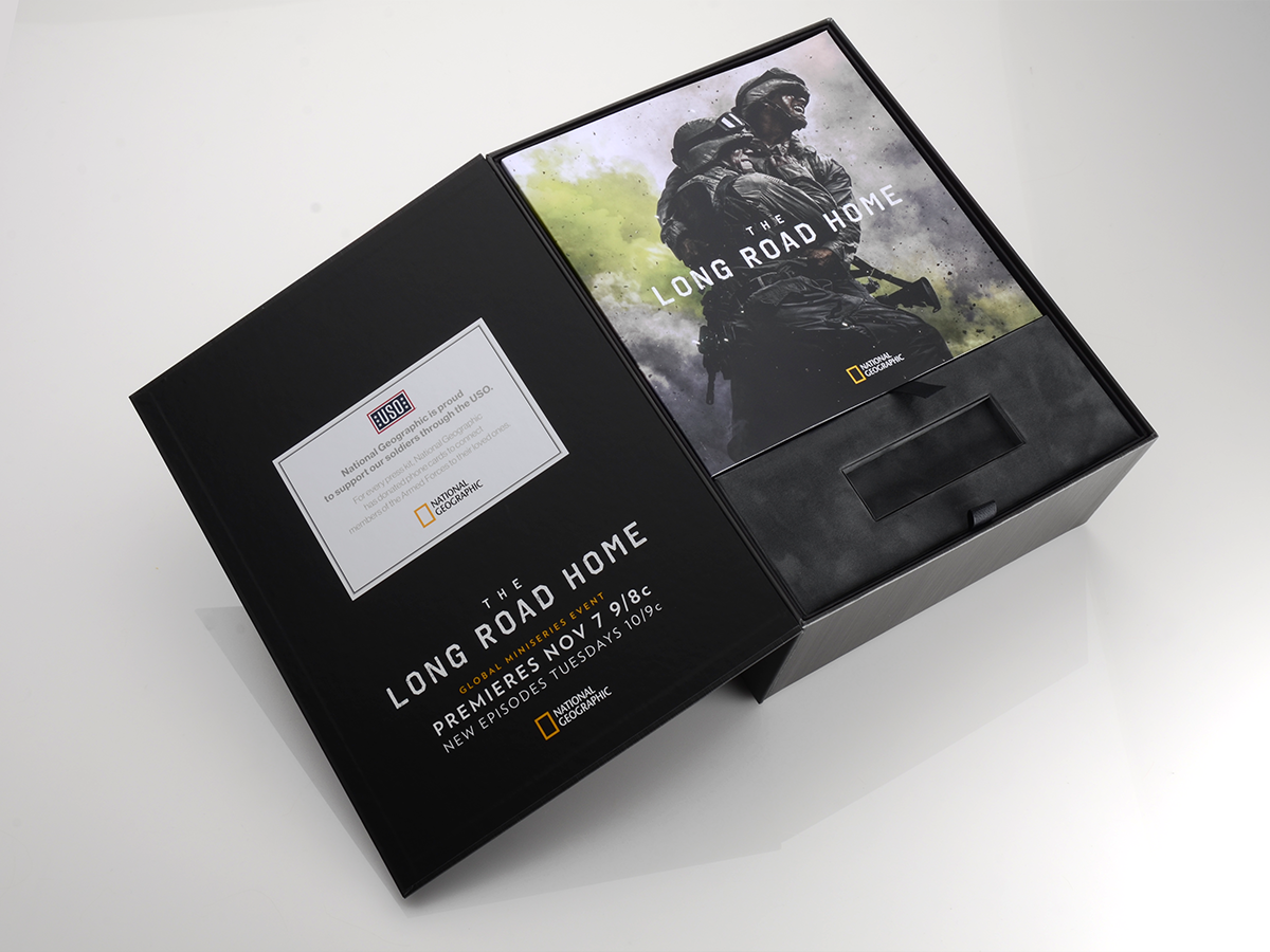 box, packaging design, press kit packaging, national geographic, long road home