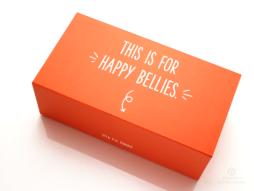 press kit, rigid box, packaging design, custom packaging, three panel folder, orange box, happy baby box